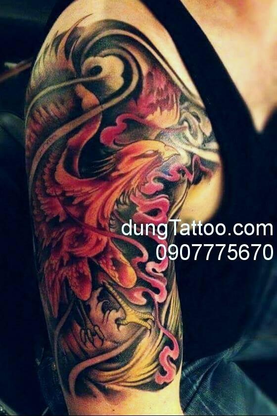 Hình xăm phượng hoàng bắp vai tay Chính dũng tattoo xăm tuần trước 0907775670