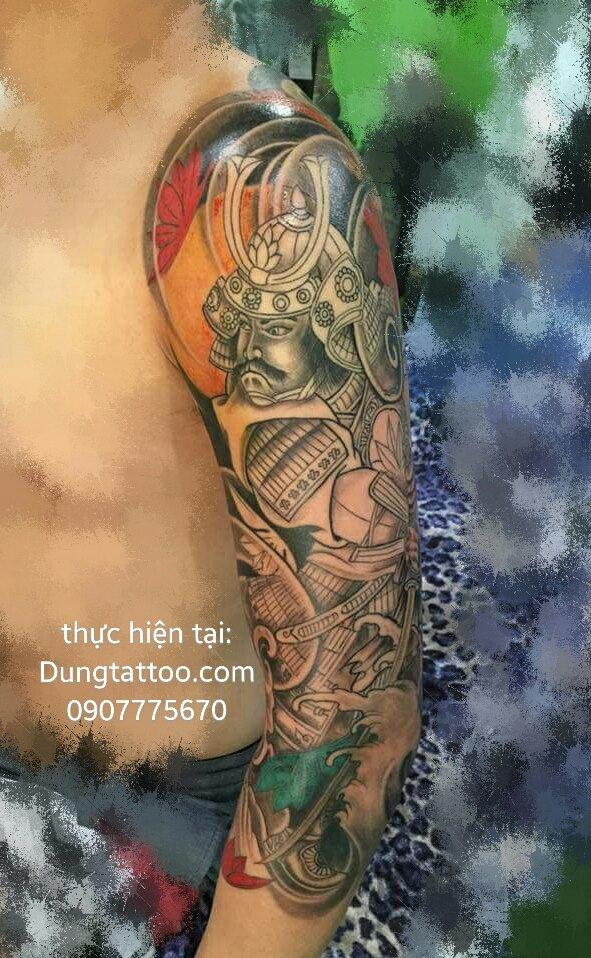 Hình xăm cánh tay chiến binh samurai Chính dũng tattoo xăm tuần trước 0907775670
