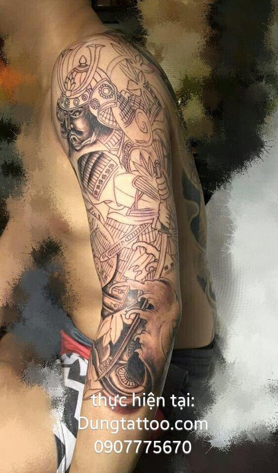 Hình xăm cánh tay chiến binh samurai (được 50%) Dũng thực hiện 0907775670