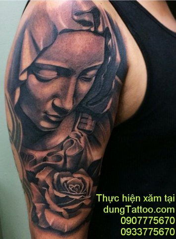 Hình xăm đức mẹ maria cánh tay xăm liên hệ 0907775670