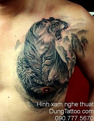 Hình xăm cọp trên ngực trắng đen đẹp chính Dũng xăm 0907775670