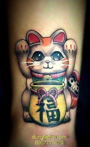 Hình xăm thần tài mèo may mắn mẫu của Nhật