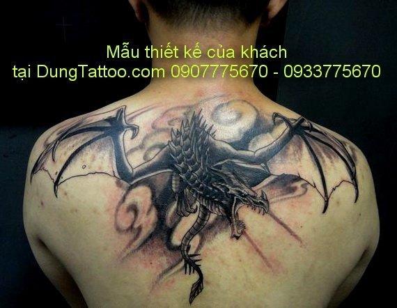 hinh xam rong chau au tren vai sau lung 3d tai dung tatoo 0907775670