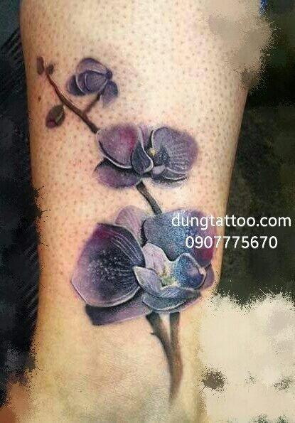 Xăm hoa lan lấp sẹo phỏng 2 cái trên chân Dũng thực hiện 0907775670