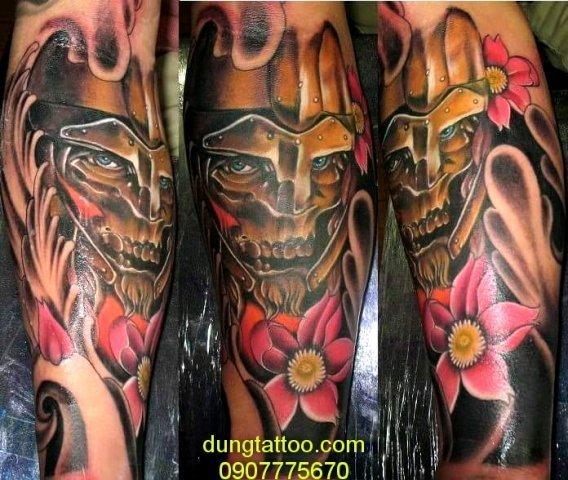 Hình xăm mặt quỷ hoa sen màu đẹp 3d Dũng thiết kế 0907775670