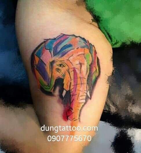 Hình xăm biểu tượng voi may mắn -thực hiện tại dũng 0907775670