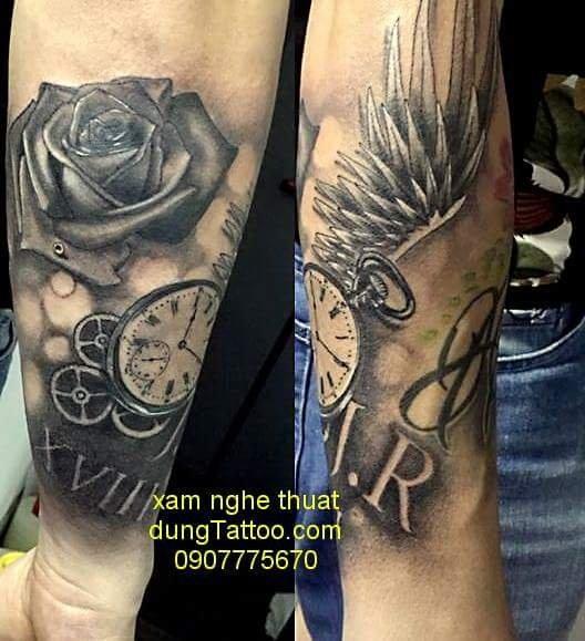 Hình xăm đồng hồ la bàn cánh chim -thực hiện tại dũng 0907775670