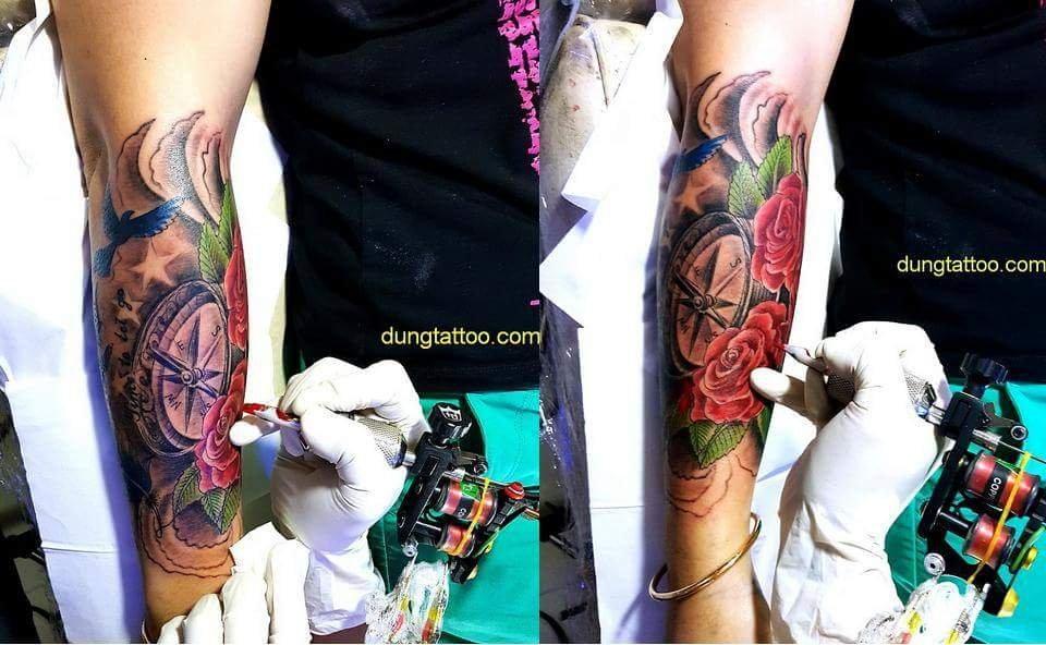 Sửa hình xăm hư hoa hồng đồng hồ lông vũ -thực hiện tại dũng 0907775670