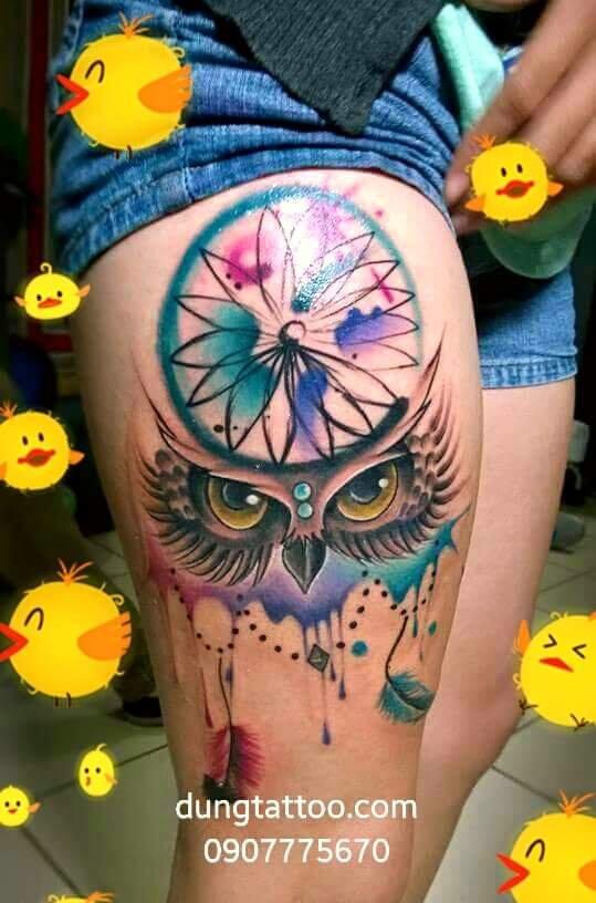 hinh xam bua ngu ngon dreamcatcher thuc hien tai dung tattoo