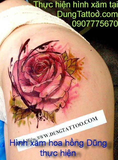 Hình xăm hoa hồng lấp sẹo giá báo sẵn