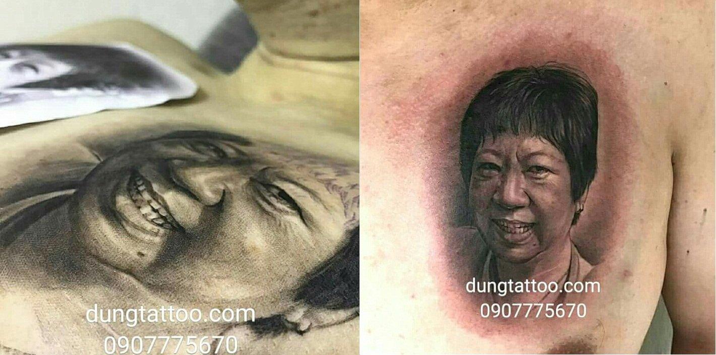 hình xăm chân dung khuôn mặt mẹ thực hiện dũng tattoo 0907775670