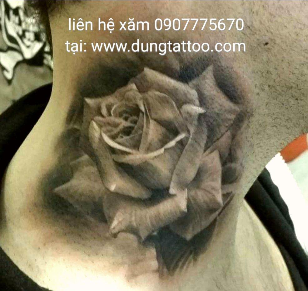 Hình xăm hoa hồng 3d trên cổ thực hiện tại dũng 0907775670