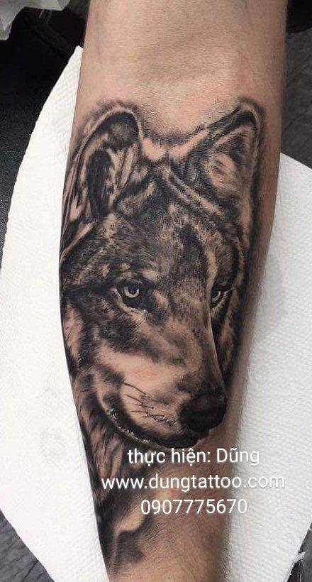 Hình xăm chó sói 3d trên tay đẹp tại dũng xăm nghệ thuật 0907775670