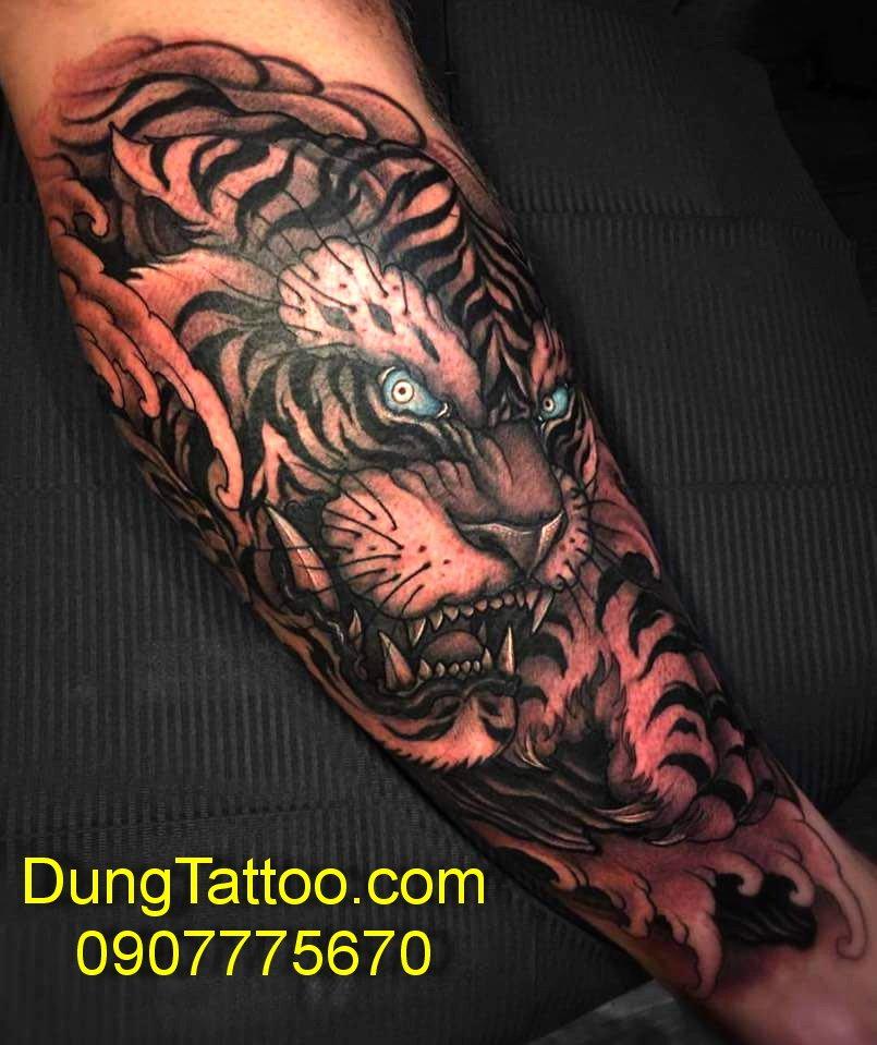 hinh xam dau cop canh tay 3d dep nhat dung tattoo thuc hien