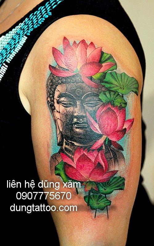 Hình xăm phật và hoa sen liên hệ dũng tattoo 0907775670