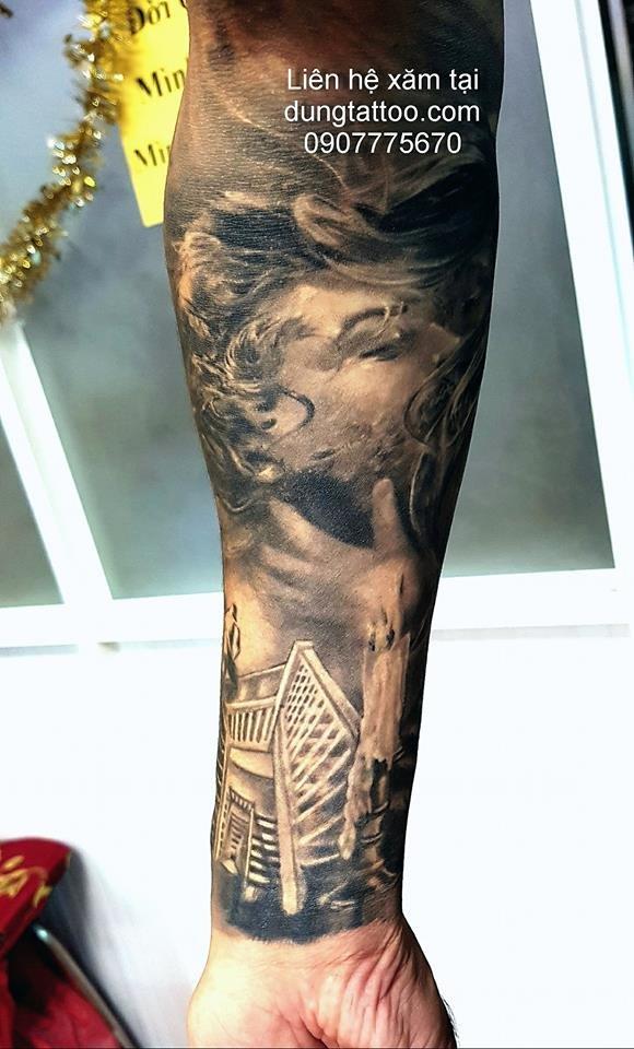 hinh xam 3d chan dung tattoo thuc hien canh tay