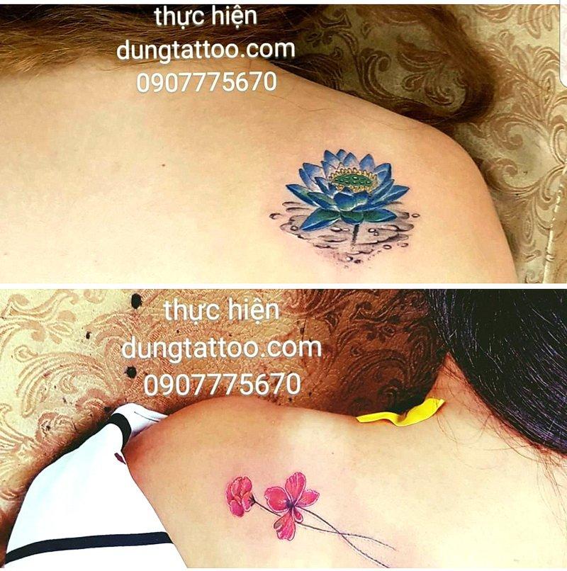 hinh xam nho nu tinh tren vai lung nu hoa sen hoa mai hoa dao hoa long den thuc hien dung tattoo 0907775670