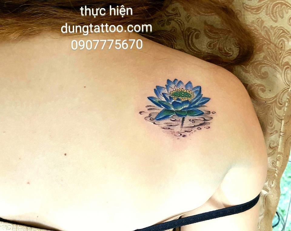 hinh xam hoa sen 3d tren vai nu de thuong thuc hien dung tattoo 0907775670